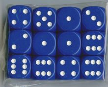 Twelve 6-sided Spot Dice: Blue with White Spots